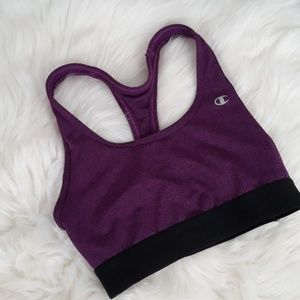 Purple space dye champion small sports bra